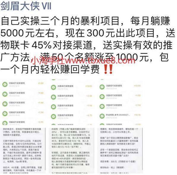 剑眉大侠实操三个月得暴利项目,每月躺赚5000元左右(价值300元)