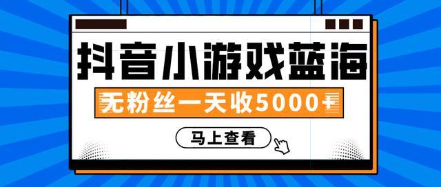 赚钱计划:抖音小游戏蓝海项目,无粉丝一天收入5000+