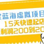 淘宝蓝海虚拟项目4.0,15天快速起店,单天利润200到2000元